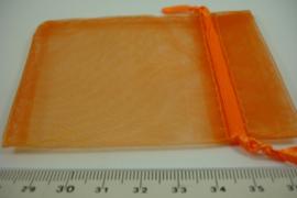 [ 6898 ] Organza zakjes 7 x 7 cm. Oranje, per 10 stuks