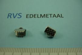 [ 8434 ]  RVS,  Lintklem 6 mm.  per 8 stuks