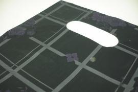 [ 8246 ] Tas 25 x 20 cm. Zwart met Grijs geblokt en Paarse bloem, 100 stuks