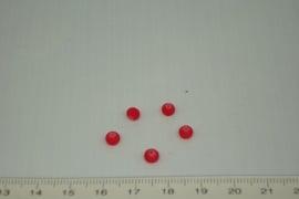 [0362 ] Glas kraal met rubber 4 mm. Rood