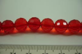 [ 6957 ] Ronde facet geslepen Glaskralen 10 mm. Helder Rood, per streng