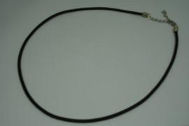 [5705 ] Ketting met slotje, Zwart 3 mm. Leer, per stuk
