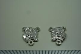 [ 0956 ] Rozenkrans Connector Roos 17 mm. Metaal Zilverkleur, per stuk