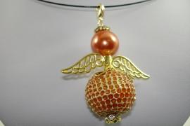 [ 6583 ] Engel 5.5 cm. Oranje/Goud, per stuk