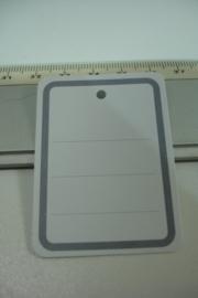 [ 7084 ] Prijs/info Kaartjes 5½ x 4 cm. Wit karton, per 10 stuks
