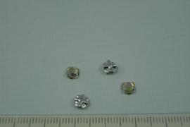 [0656 ] Kruislings kraaltje 4 mm. Kristal AB, per stuk