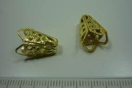 [0830] Eind kap 16.5 x 8 mm. Filigraan Goud kleur, per stuk