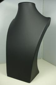 *[ 9090 ] Hals Luxe Zwart Leer, Middel 29 cm.