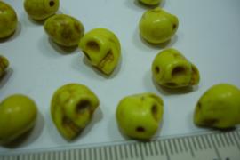 [ 0314 ] Doodshoofd  kraal 11 mm. Geel, per stuk