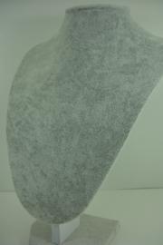 *[ 9300 ] Hals punt middel  28 cm. hoogte, Grijs Fluweel, per stuk