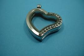 [ 6240 ] Locker Hartje krom 28 mm. Zilverkleur met helft Glitter, per stuk