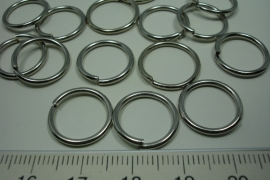 [ 6129 ] Open Ring 15 mm. Chroom, 15 stuks