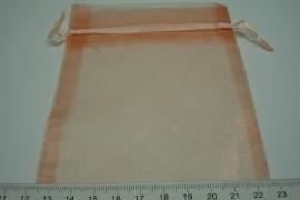 [ 5927 ] Organza zakje 10 x 10 cm. Oranje, 10 stuks
