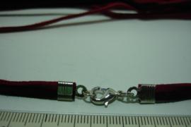 [ F.B. ] 2 veters in 3 mm. Zwart en Rood lang 96 cm. met slotje