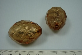 [0620 ] Zilverfolie kraal Licht Amber, ovaal 40 mm. per stuk