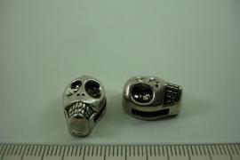 [ 0968 ] Leer schuif doodshoofd 16.6 x 11.7 mm. Metaal, per stuk