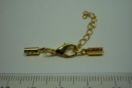 [ 0818 ] Veterklem 3 x 5 mm. met slot en veterklem, Goudkleur, per set