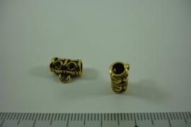 [ 1314 ] Tussen kraal 11.6 mm. breed met 1 oog, Oud Goud, per stuk
