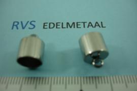 [ 8425 ]  RVS,  Eindkap 8 mm. inw., per 4 stuks