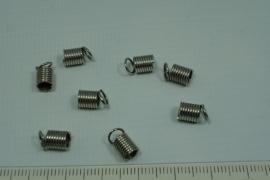 [5645 ] Koordklem Spiraal 6 mm. Chroome kleur, 8 stuks