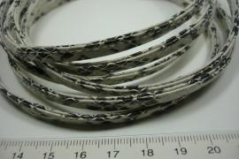 [ 6091 ] Immitatie  Leer, Slangen print, dubbel gestikt, Wit/Zwart, 3 meter