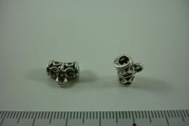 [ 1312 ] Tussen kraal 11.8 mm. breed met 1 oog, Oud Zilver, per stuk