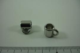 [ 1309 ] Tussen kraal 8.7 mm. breed met 1 oog, Zilverkleur, per stuk