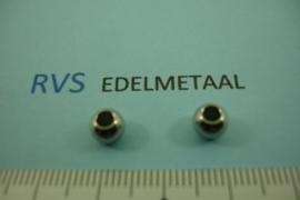 [ 8445 ]  RVS  Kraal 6 x 4.5 mm.  per 10 stuks