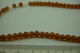[ 8474 ] 4 mm. Glas kralen, Licht Bruin, +/- 34 cm. per streng