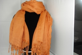 [OR,006] Donker Oranje Sjaal met franjes