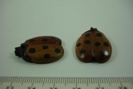 [ 6418 ] Lieveheers beestje 27.3  mm. Hout, per stuk