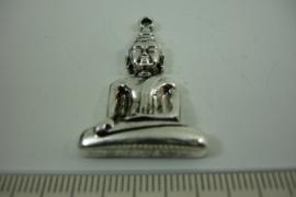 [ 1275 ] Zittende Boeddha 35 mm. Zilverkleur