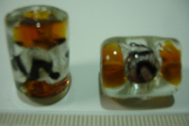 [ 7078 ] Glaskraal tonnetje 20 x 15 mm. Helder, per stuk