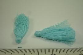 [ 6600 ] Kwastjes 3.5 cm. Turkoois, per 4 stuks
