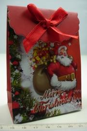 [ 5954 ] Kerst verpakking 7.5 x 10 cm. Kerstman met luxe kado, per stuk