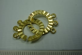 [ 0762 ] Drie rij inschuif slot 16 mm., Goudkleur, per set