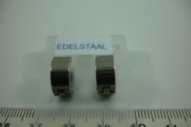 [ 6678 ]  RVS  Oorbel rond 12 mm. Zilverkleur, per paar
