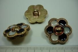 [ 0897 ] sluit Knoop 21 mm. Kunstof, Goud Zwart/Wit, per stuk