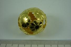[ 6825 ] Filigrein kraal 20 mm. Bloem, Verguld, per stuk