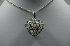 [ 6257 ] Engel roeper hanger Hart glad open, Zilverkleur, per stuk