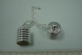 [0455 ] Inlijmkap ribbel 10 mm. met slot, Verzilverd, per set