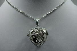 [ 6256 ] Engel roeper hanger Hart met steen, Zilverkleur, per stuk