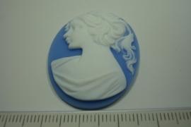[ 0882 ] Cabuchon Camee, Ovaal 39 x 29 mm. Blauw/Wit, per stuk