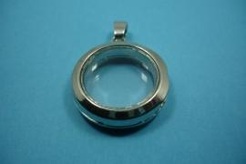 [ 6247 ] Locker Rond 25 mm. Zilverkleur glad, per stuk