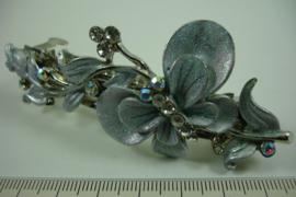 *[ 6892 ] Haarspeld Vlinder op blad 9 cm. Zilver-Grijs, per stuk