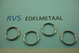 [ 8415 ] RVS,  Open ring 10 mm. x 1 mm. per 50 stuks