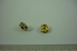 [ 1317 ] Rondel 6 mm. Goudkleur met Kristal helder, per stuk