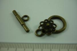 [ 6963 ] Kapittel slot  22 x 14 mm. met Zeeuwse knoop, Brons, per set