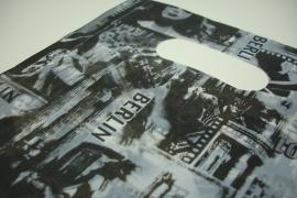[ 8247 ] Tas 25 x 20 cm. Zwart/Grijs Hollywood, 100 stuks