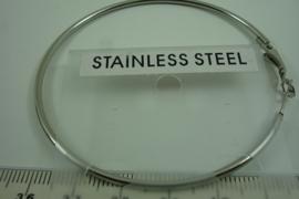 [6677 ] RVS  Creool Oorhanger  68 mm. Zilverkleur, per paar